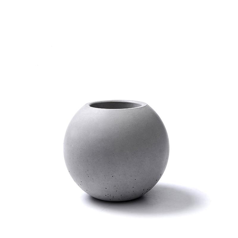 Силикагел силиконски калуп Бетонска ваза цементна посуда декорација дома Форма куглице Бетонска калупи бетонска калуп цемента 3д ваза