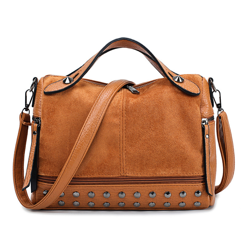 2019 New Fashion Female Rivet Single Shoulder Bag Handbag Grinded Leather Locomotive Bag Individual Retro woman Crossbody Bags(China)