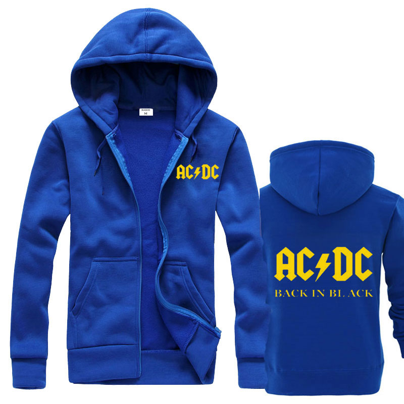 Hoodies Sweatshirt Graphic Rock Fleece Jacket Slim-Fit Prin Brand Casual Male Ac/Dc