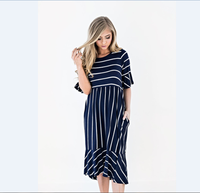 Striped Maternity Print Dress Half Sleeve Knee Long Skirt Pregnant Women Fashion Lotus Leaf Skirt Beach Dress Womens Clothing