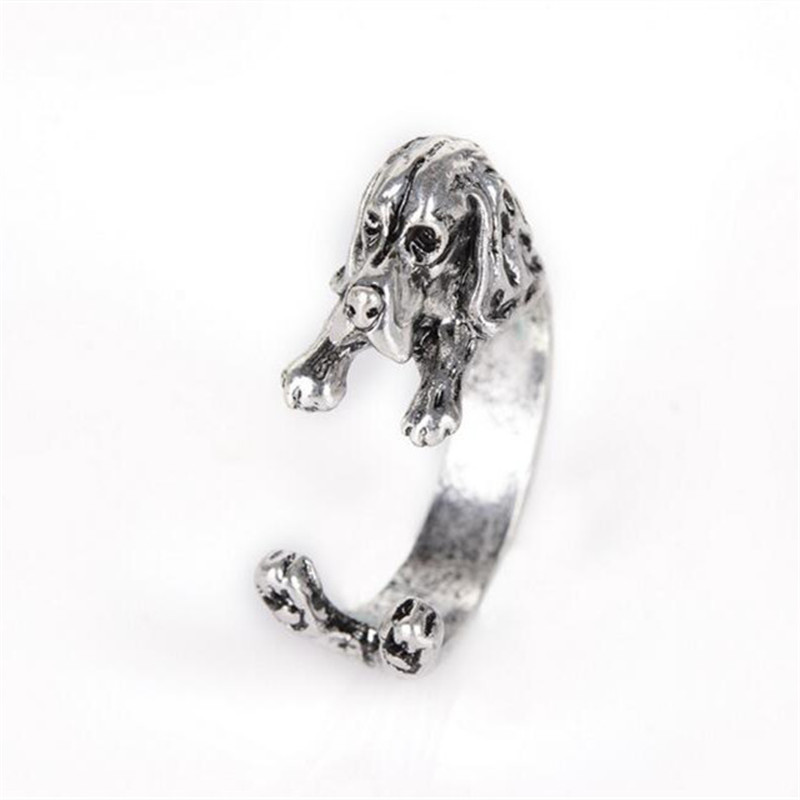 RONGQING 10pcs/lot Vintage Bronze/Black Basset Hound Rings Cute Dog Adjustable Rings Women Anillos