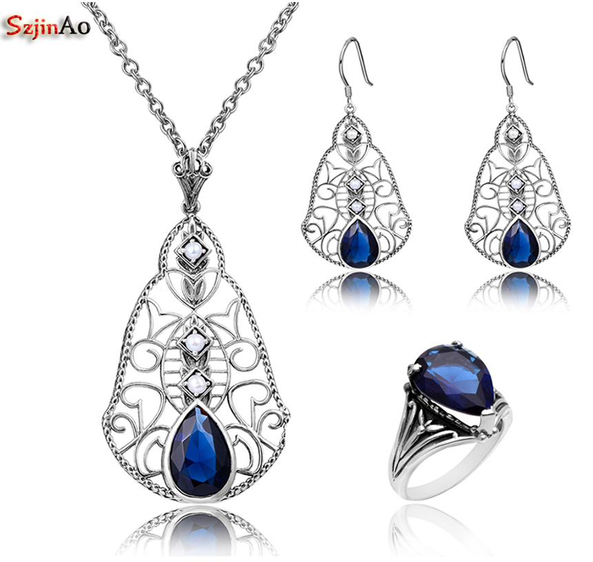 купить Szjinao Women Fashion 925 Sterling Silver Turkish Jewelry Vintage Sets With Water Drop Sapphire Jewelry Set For Women онлайн