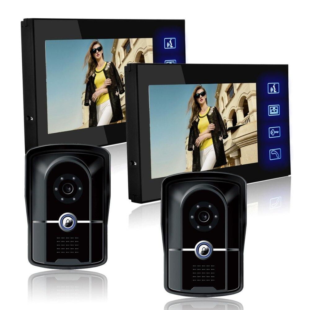 7 дюймов ЖК дисплей Цвет телефон видео домофон Системы комплект Камера охранных красивый и роскошный стиль Водонепроницаемый уровень IP55