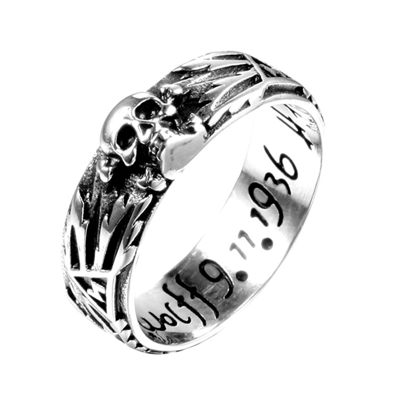 devil punk skull ring stainless steel vintage ring for men titanium steel drop shipping jewelry punk style hollow out stainless steel crucifix ring for men