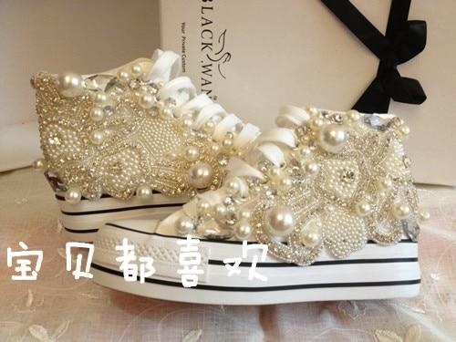 Share in contrast increased handmade luxury diamond nail bead inside canvas  shoes female han edition pearl d89e6b6b5708