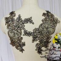 Czarne złoto koronki aplikacja łatka rocznika haftowane suknia Ślubna aplikacja szycia akcesoria Ślubne ubrania dekoracji łatki