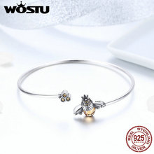 WOSTU 100% 925 Sterling Silver Hot Sell Bee Glitter Chain Bracelet For Women Original Bangle Fashion Jewelry Wedding Gift FIB104