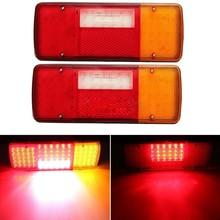 1Pair 92LED Plastic Car Rear Tail lights Stop Turn Signal Light for 12V 24V Truck Van Trailer Reverse Lamp
