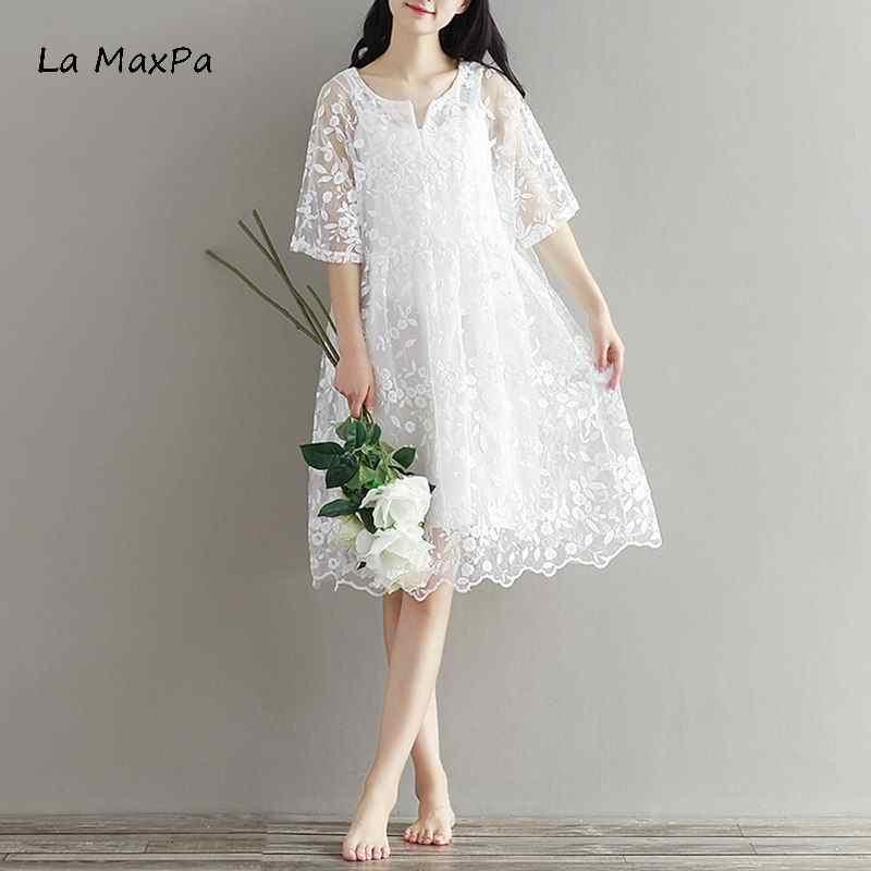 ec9289e43ce Mori Girl шифоновое платье с вышивкой весеннее платье цвет Высокая талия  женское белое кружевное летнее модное