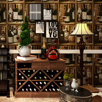 3D Non Woven American Country Vintage Retro Liquor Cabinet Wallpapers For Living Room Cafe And Bar