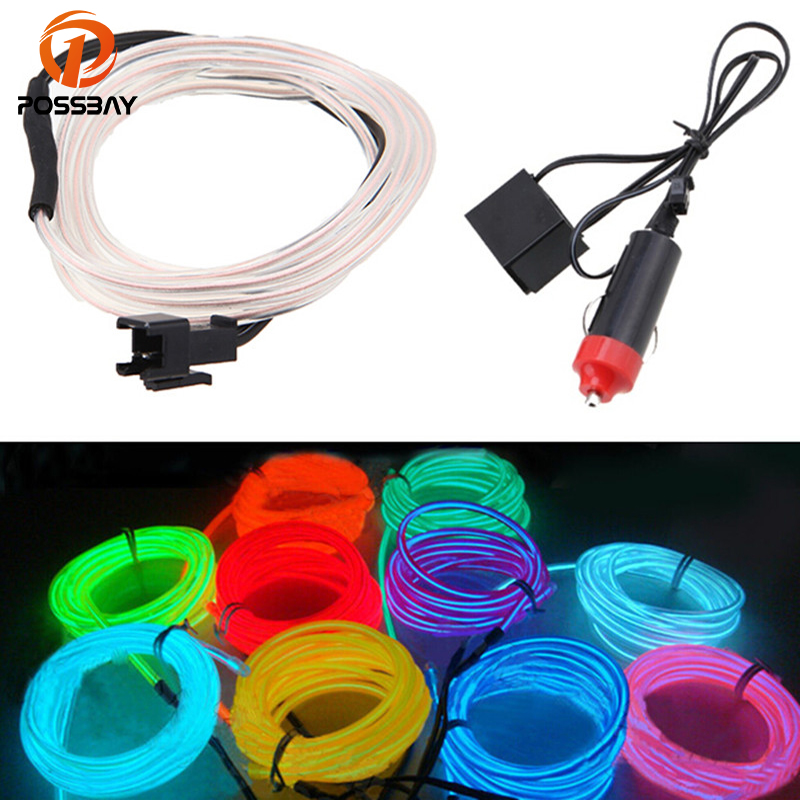 POSSBAY 2M LED Neon Light EL Wire Flexible Strip Car Party ...