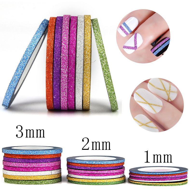 8pcs Vinyl Nail Sticker Scrub Striping Tape Liner Nail Art Tips Decoration DIY Manicure Nail Decals Strips Roll Mix Colors 1-3mm 14 rolls glitter scrub nail art striping tape line sticker tips diy mixed colors self adhesive decal tools manicure 1mm 2mm 3mm