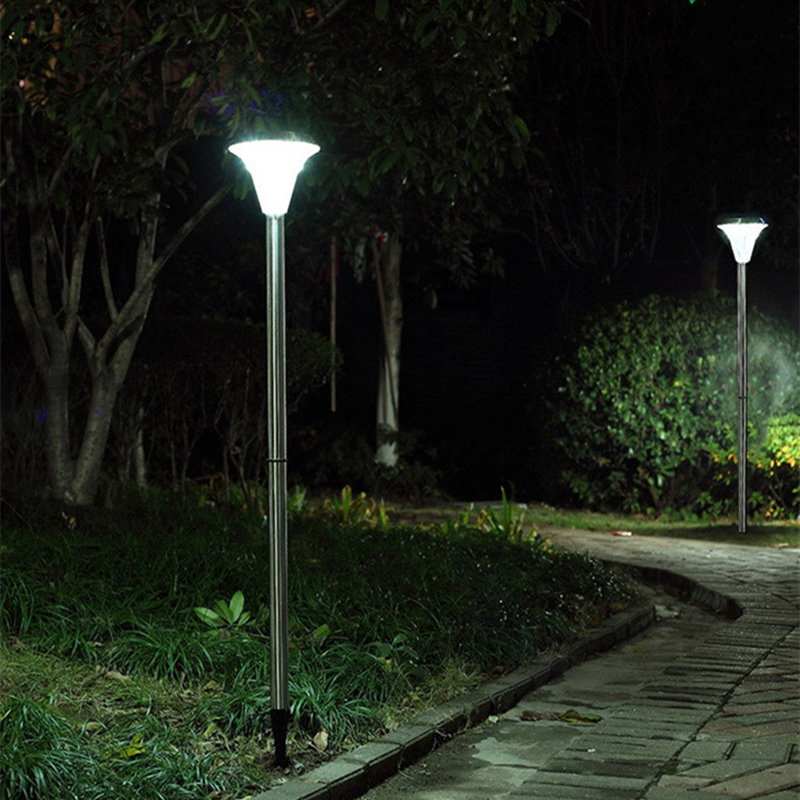 High brightness 115 cm 18LED path lights solar green energy stainless steel waterproof led outdoor light solar yard lawn 0 5w 70lm white light stainless steel solar energy powered lamp silver