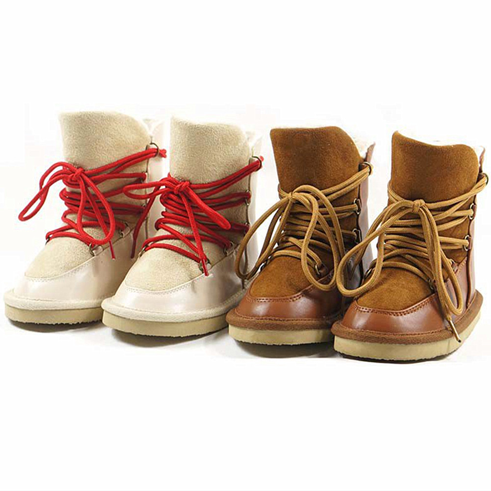 Genuine leather Children Boots Lambs wool thicken Girls sheepskin snow boot lace-up Suede winter princess shoes kids Shoes