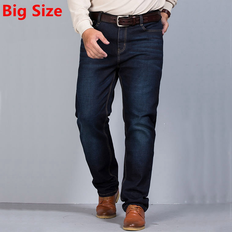 Big Size Autumn and Spring ultra elastic jeans male loose straight long trousers plus size fat pants big yards pants afs jeep winter men s long trousers mens straight jeans casual loose waistline autumn long trouser man male botton plus size 42