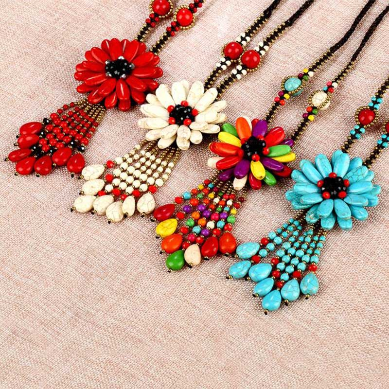 Statement New Bohemia Natural Stone Flower Pendant Necklaces Red Ethnic Rope Chain Long Tassel Necklaces For Women Charm Jewelry ethnic style filigree faux turquoise rhinestone feather chain tassel statement necklace for women