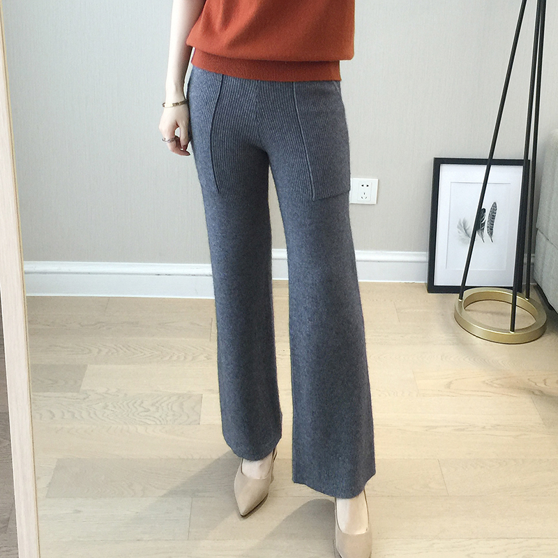2018 Women Knitted   Pants   Female Cashmere Wool Trousers Lazy Loose All-match Clothes Fashion Cashmere Trousers   Wide     Leg     Pants