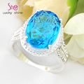 Christmas Gifts Top Jewelry Newest Classic Oval Fire Blue crystal Rings USA Russia Canada Australia Wedding Rings