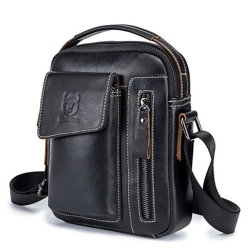 Bullcaptain Genuine Leather male bag Business Messenger Bag Vintage Fashion Crossbody Bag For Men for gift brand shoulder bag цены