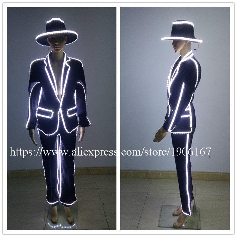White Led Luminous Clothes font b Women b font font b Suit b font Evening Party