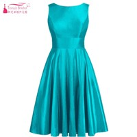 Teal Green Scoop A Line Knee Length Bridesmaid Dresses Simple New Style Satin Bridesmaids Gown vestido de festa DQG079