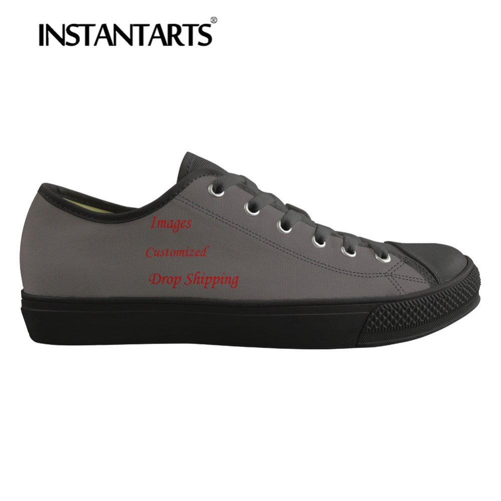 INSTANTARTS Men's Sneakers 2019 Spring Man Lacing Low-top Canvas Shoes Custom Images / Logo Student Flats 3D Print Vulcanze Shoe