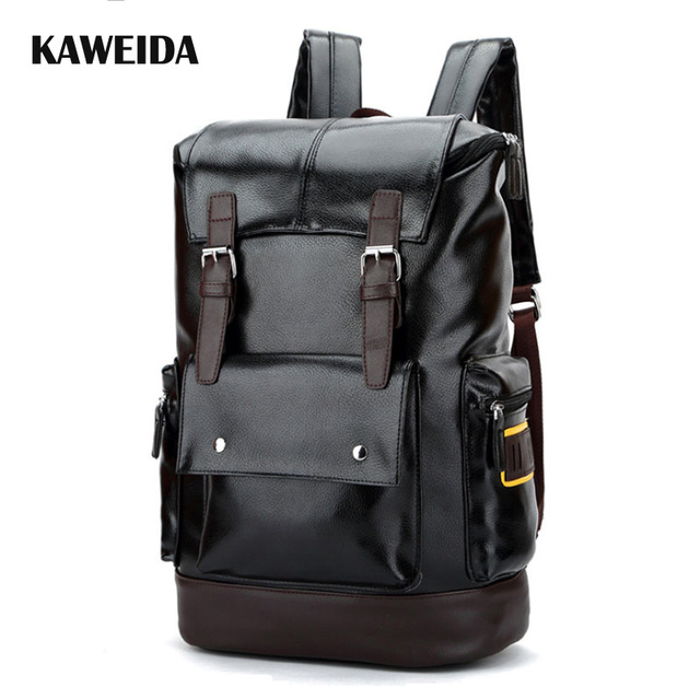 b53f997cd3ff Black Faux PU Leather Backpack Mens Retro Top Flap Backpacks Urban  outfitters Solid Utility Vintage Travel
