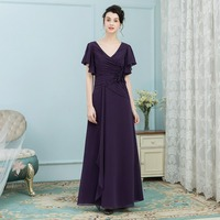 Elegant Dark Purple Mother of the Bride Dresses For Weddings Sleeves Long Mother of the Bride Gowns Wedding Party Dress 2018