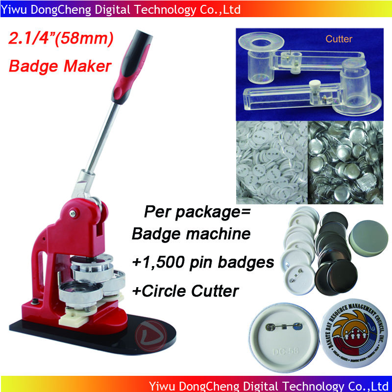 Free Shipping 2.1/4(58mm) Badge Button Machine + Adjust Circle Cutter+1,500 Plastic Pin Badge Material free shipping new pro 1 1 4 32mm badge button maker machine adjustable circle cutter 500 sets pinback button supplies