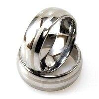 Darmowa Dostawa! Hurtownie USA Gorąca Sprzedaży E i C Biżuteria męska Srebrny Pierścień Wolframu Pierścień Podwójnej Linii Laserowych jego/Jej Najlepiej Wedding Ring