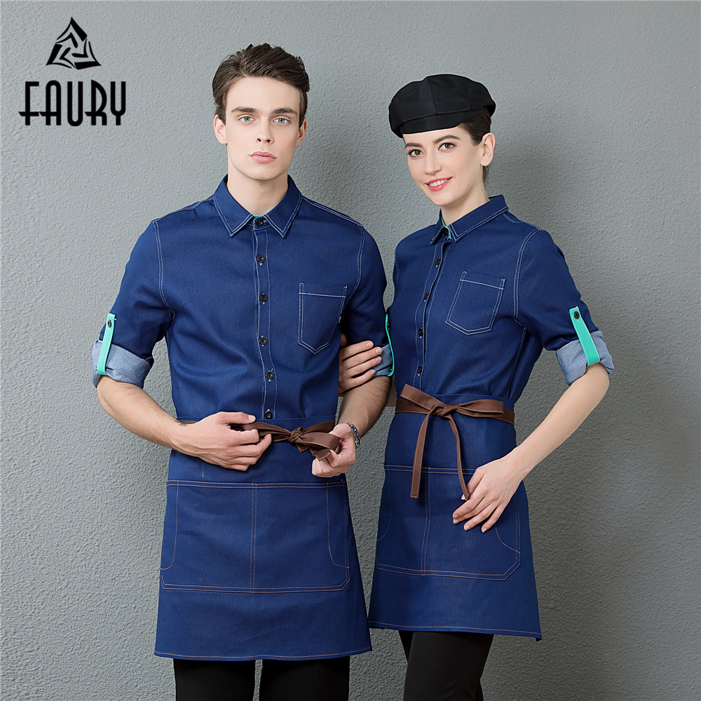 Women Men Restaurant Chef Clothes Waiter Waitress Denim Adjustable Long Sleeve Shirt Catering Food Service Workwear Uniform Coat