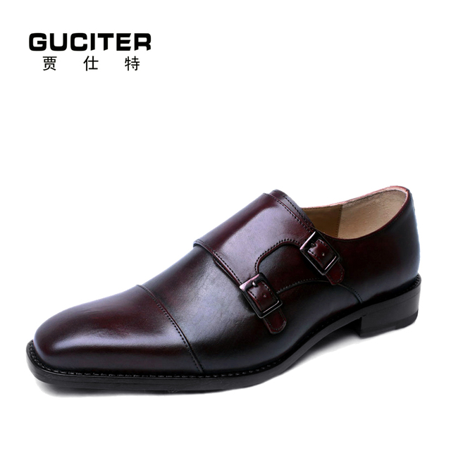 191ac97c0a2 Guciter Free Shipping Goodyear Shoes male high end custom hand-painted  color monks manual mens leather handmade custom Shoes