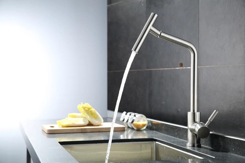 brushed nickel kitchen faucet modern kitchen mixer tap 304 stainless steel 360 degree rotation no lead torneira de cozinha