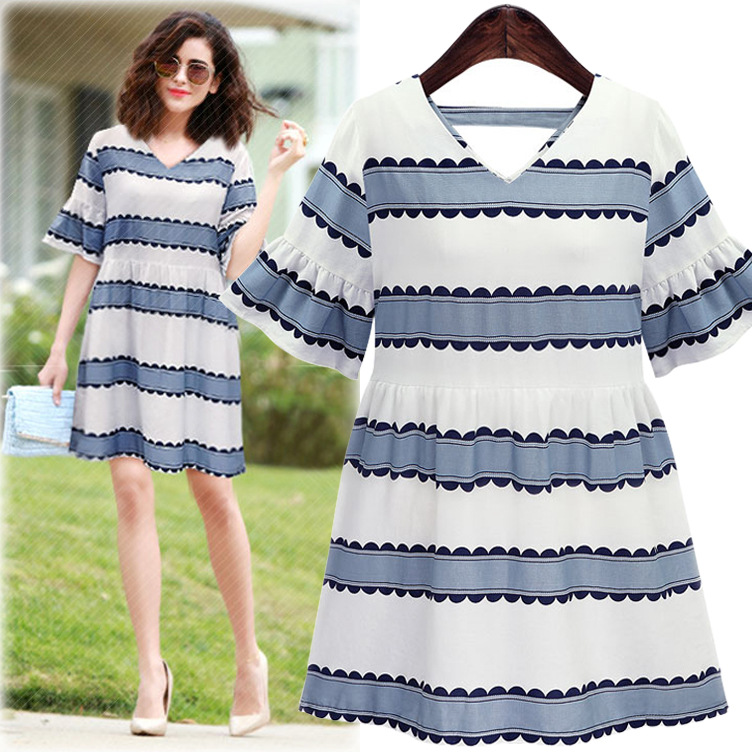 Cindy's Professional Women's Clothes Store  size women's clothing, 2016 summer new V, lotus leaf sleeve dress, show thin stripe, short sleeved dress, A short