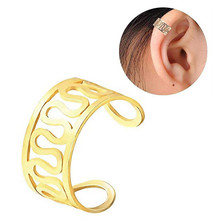 TTLIFE Simple Personality Pierced Ear Cuffs Punk Stainless Steel Silver Gold Clip Earrings Women Men Hip Hop Brincos