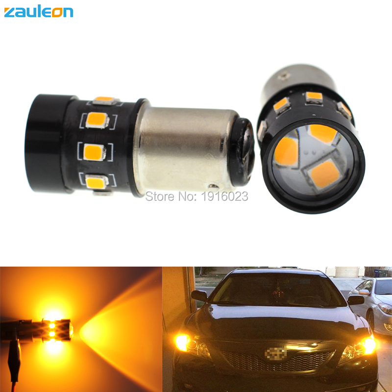 Zauleon 2pcs S25 1157 1157A P21/5W BAY15D LED Amber Yellow 400 lumens For Turn Signal Light Bulb Car Light Bulb parking Lamp cyan soil bay amber yellow orange 1157 bay15d p21 5w 33 5730 33smd led brake turn signal rear light bulb 12v 24v