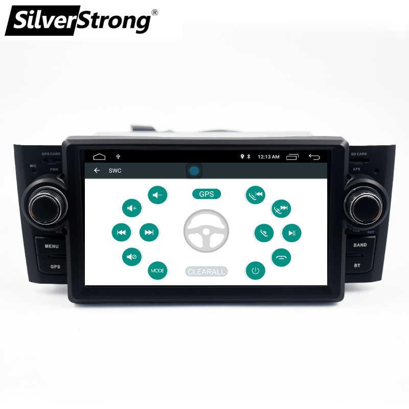 SilverStrong coche reproductor Multimedia GPS Android9.0 Radio de coche 1 Din DVD para Fiat/Grande/Punto/Linea 2007 -2012 FM Radio dirección
