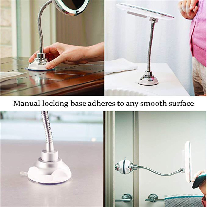 360 Rotation 10X Magnifying Makeup Mirror LED Fogless Suction Cup Shower Shave Make Up Fog Free Mirror