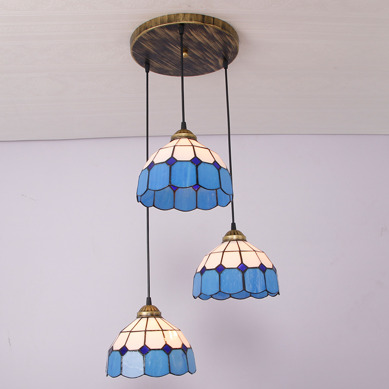 Tiffany 3 head droplight simple Tiffany restaurant is light blue / white Mediterranean entrance balcony manufactu Pendant Light 12 inch simple european style modern restaurant droplight tiffany glass lighting mahjong table mediterranean balcony lamp
