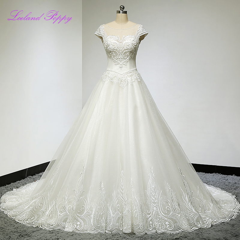 New Arrival Women's A-line Lace Appliques Cap Sleeves Wedding Dresses Embroidery Beaded Backless Vestido de Novia Bridal Gowns