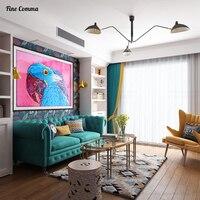الأزرق الببغاء الحديثة النفط قماش اللوحة على قماش اليدوية مجردة رسمت باليد قماش غرفة المعيشة جدار الفن
