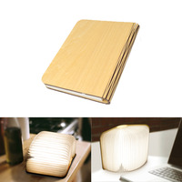 USB Rechargeable LED Foldable Wooden Book Shape Desk Lamp Nightlight Booklight Decor Warm White White Black