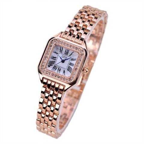 Marca de Luxo Nova Moda Strass Relógios Femininos Aço Inoxidável Pulseira Senhoras Vestido Quartzo Marca Reloj Mujer