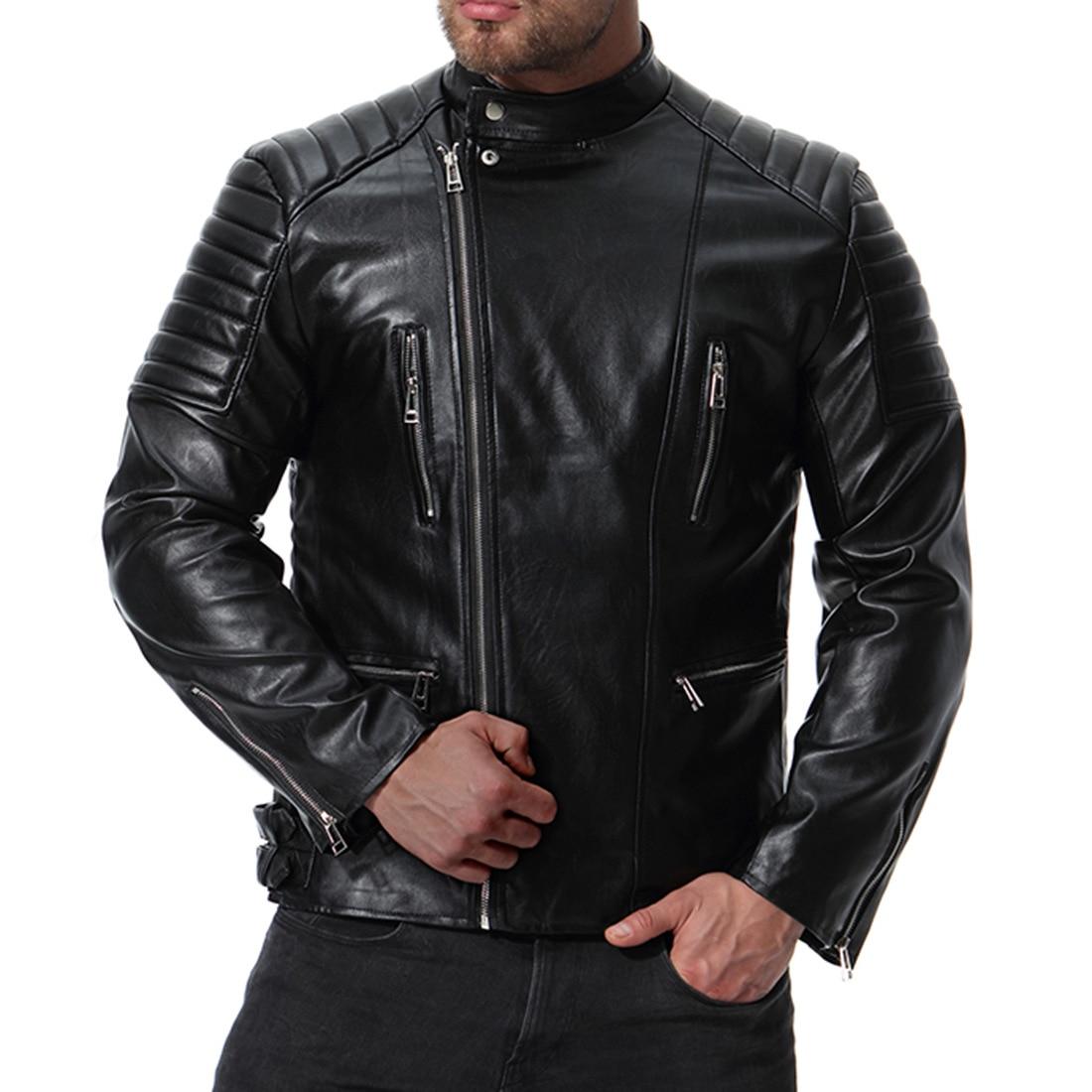 MarKyi 2018 moda outono gola pu jaqueta de couro da motocicleta dos homens plus size 5xl jaqueta de couro motoqueiro