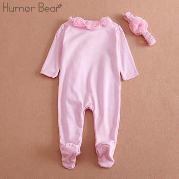 Humor Bear NEW Newborn Baby Girl Clothes Bow/Flowers Romper Clothing Set Jumpsuit & Headband 2 PC Cute Infant Cirls Rompers 1