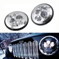 For Lada 4x4 urban Niva Suzuki samurai 7 Black LED H4 Headlight daymaker Lights Headlamp For Jeep Wrangler Land Rover Defender
