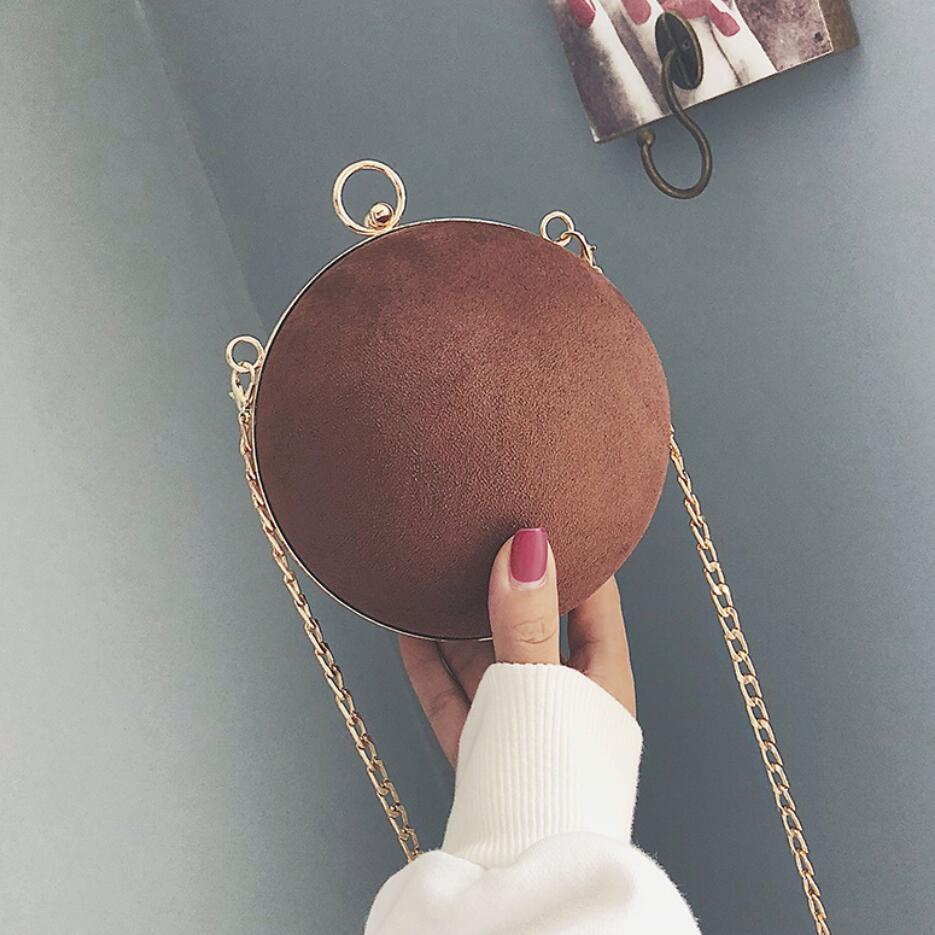 Del Nuovo brown Mini Cuoio Catena Sacchetto Alta 2018 rosso Delle Spalla Il Elaborazione Dell'unità Rotonda Bor Donne Giallo Progettista Della Modo colore Nero Retro Di Borsa Messaggero Opaca Qualità dxa48d