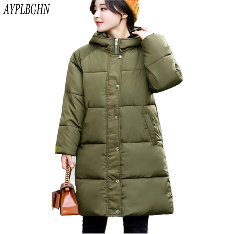 Winter Jacket 2017 New Women Thicken Hooded Warm Jackets Coats Parka Ladies Medium-Long Large size Cotton Down Jacket plus size купить