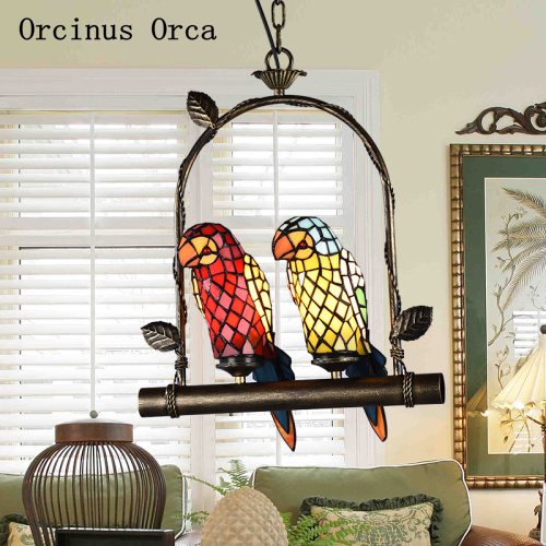 European retro coloured parrot chandelier living room dining hall corridor Mediterranean LED glass bird Chandelier