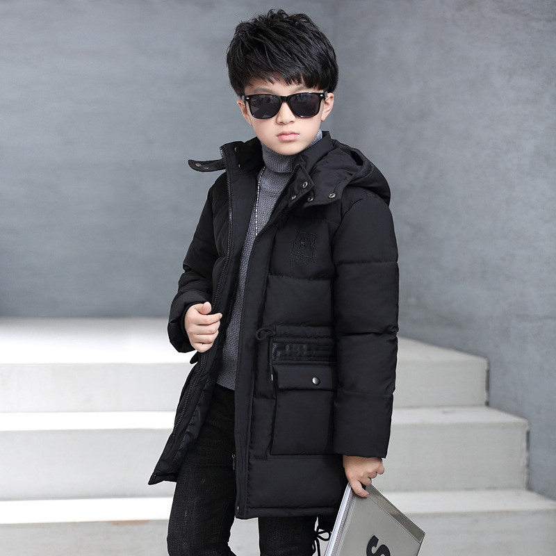 Boys parkas Winter Casual Cotton Zipper Solid Boy coat Kids Hooded Long Parkas 6 8 10 12 14 16 Years Childrens Clothing